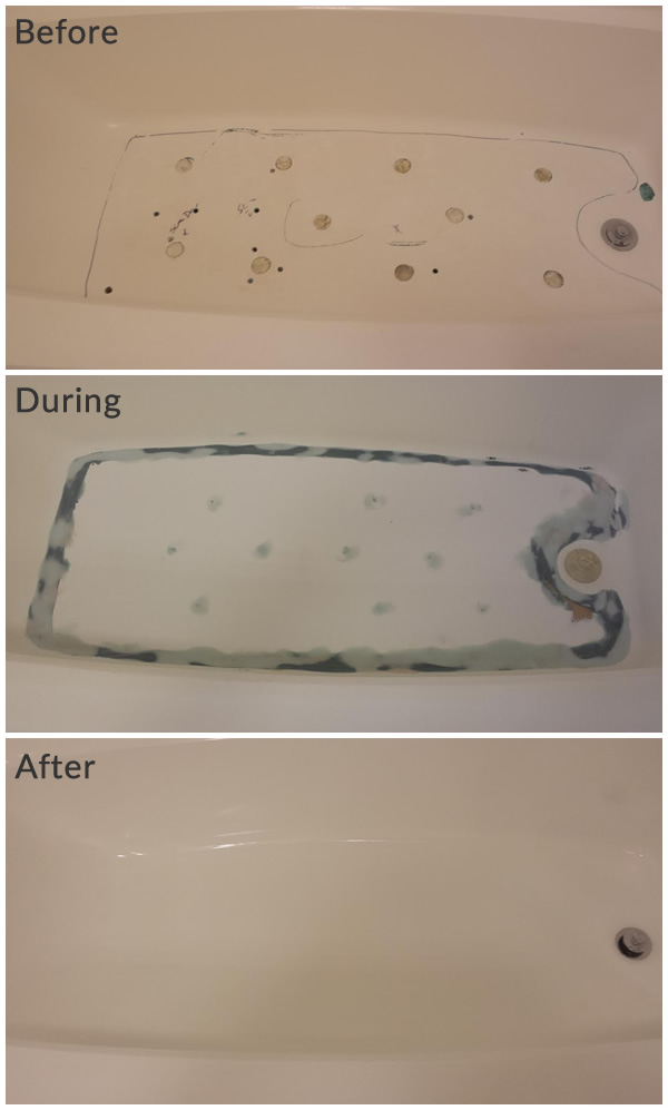 Before During After Tub Repair
